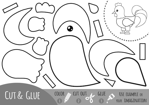 Jogo de papel de educação para crianças, galo. use tesouras e cola para criar a imagem.
