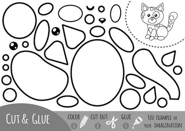 Jogo de papel de educação para crianças, gato. use tesouras e cola para criar a imagem.