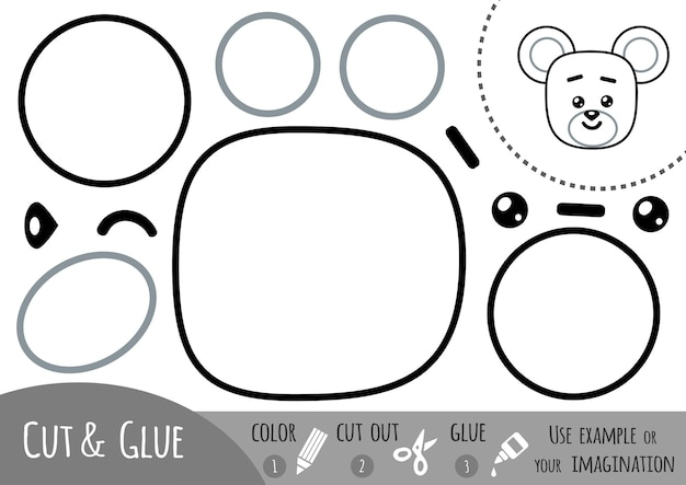 Jogo de papel de educação para crianças, mouse. use tesouras e cola para criar a imagem.