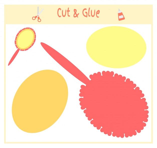 Jogo de papel educativo para o desenvolvimento de crianças em idade pré-escolar. corte partes da imagem e cole no papel.