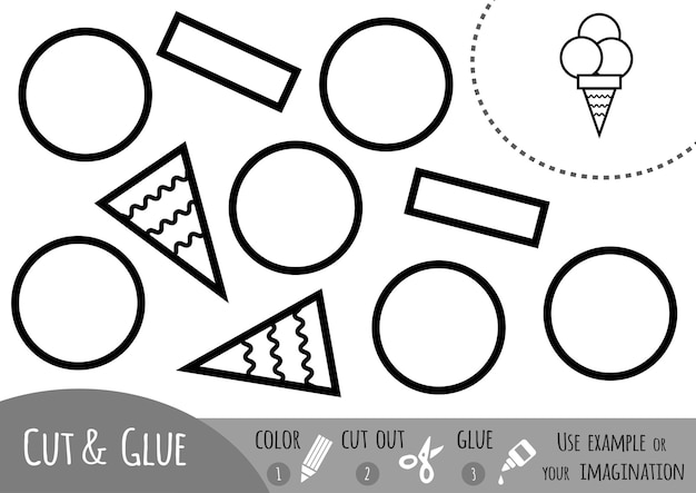 Jogo de papel educativo para sorvete infantil use lápis de cor, tesoura e cola para criar a imagem