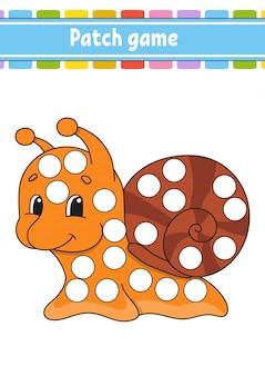 Jogo de patch para crianças. faça uma página para colorir de pontos.