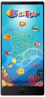 Jogo de peixes subaquáticos na tela do tablet