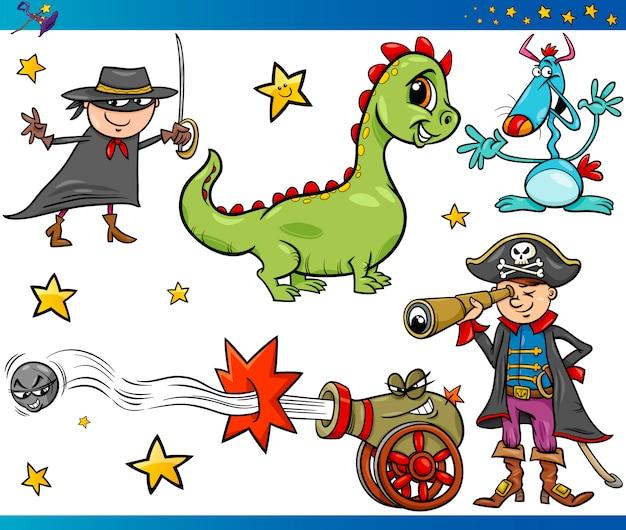 Jogo de personagens de fantasia de desenhos animados