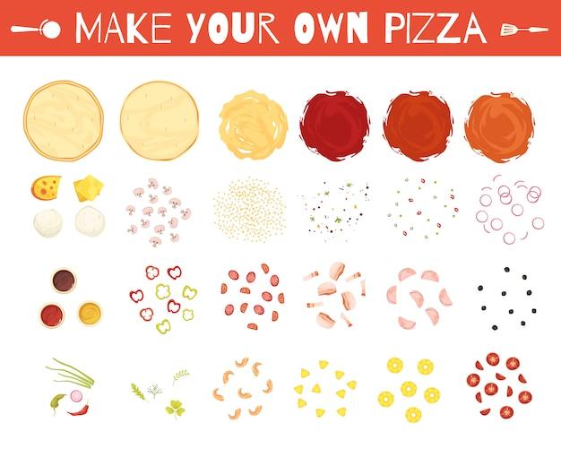 Jogo, de, pizza, elementos