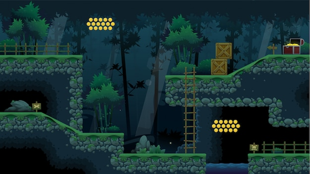 Jogo de plataforma de floresta ninja