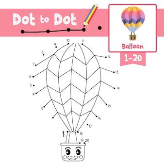 Jogo de ponto a ponto de balão e livro para colorir