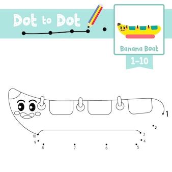 Jogo de ponto a ponto de barco de banana e livro para colorir