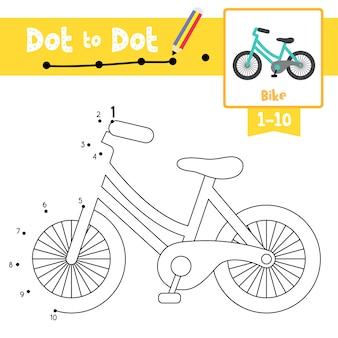 Jogo de ponto a ponto de bicicleta e livro para colorir