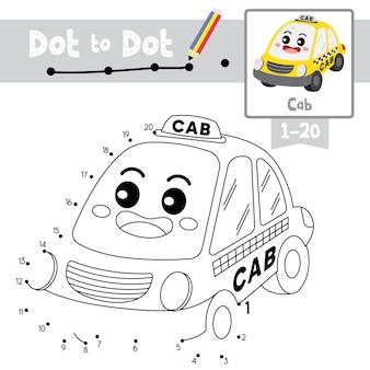 Jogo de ponto a ponto de táxi e livro de colorir