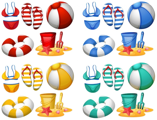Jogo, de, praia, elementos