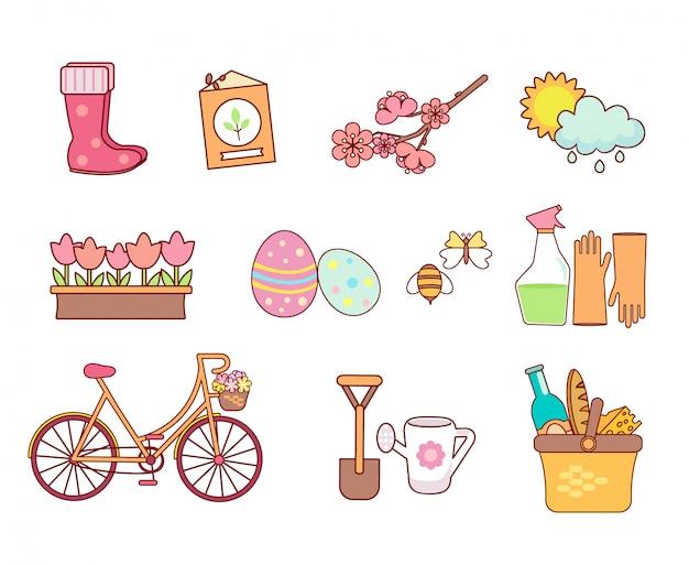 Jogo, de, primavera, ícones