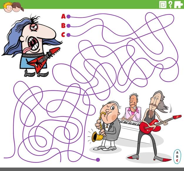 Jogo de puzzle labirinto com personagem de desenho animado rockman guitarrista e banda de música