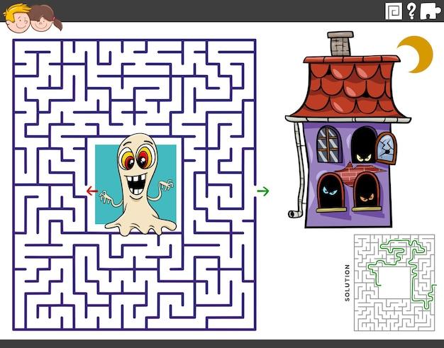 Jogo de puzzle labirinto de desenho animado com fantasma e casa assombrada