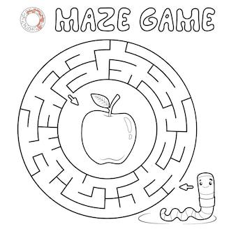Jogo de puzzle labirinto para crianças. contorne o labirinto do círculo ou o jogo do labirinto com a minhoca.