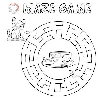 Jogo de puzzle labirinto para crianças. contorne o labirinto do círculo ou o jogo do labirinto com o gato.