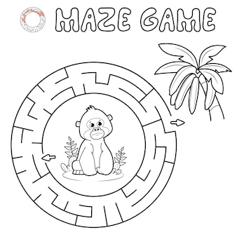 Jogo de puzzle labirinto para crianças. delinear labirinto de círculo ou jogo de labirinto com gorila. macaco e bananas