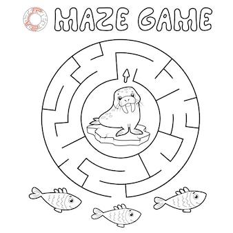 Jogo de puzzle labirinto para crianças. delinear labirinto de círculo ou jogo de labirinto com morsa.