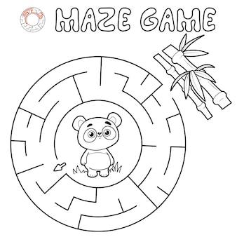 Jogo de puzzle labirinto para crianças. delinear labirinto de círculo ou jogo de labirinto com panda.