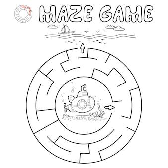 Jogo de puzzle labirinto para crianças. delinear labirinto de círculo ou jogo de labirinto com submarino.