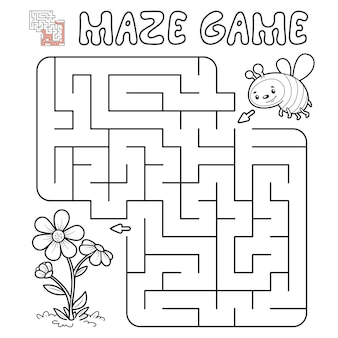 Jogo de puzzle labirinto para crianças. delinear labirinto ou jogo de labirinto com abelha. ilustrações