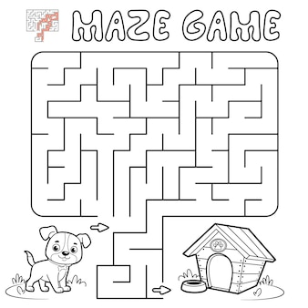 Jogo de puzzle labirinto para crianças. delinear labirinto ou jogo de labirinto com cachorro. ilustrações