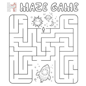 Jogo de puzzle labirinto para crianças. delinear labirinto ou jogo de labirinto com foguete. ilustrações
