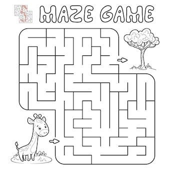 Jogo de puzzle labirinto para crianças. delinear labirinto ou jogo de labirinto com girafa. ilustrações