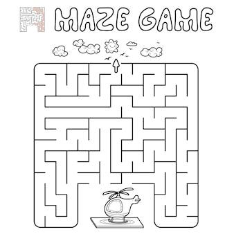 Jogo de puzzle labirinto para crianças. delinear labirinto ou jogo de labirinto com helicóptero. ilustrações