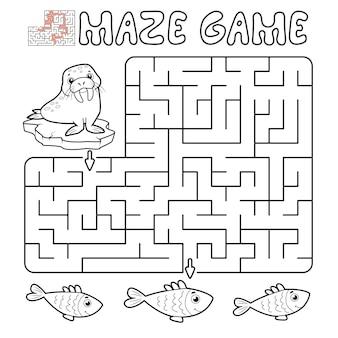 Jogo de puzzle labirinto para crianças. delinear labirinto ou jogo de labirinto com morsa. ilustrações