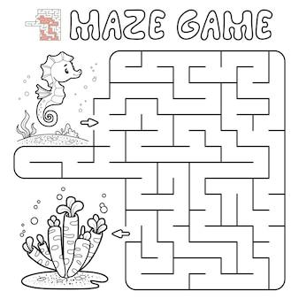 Jogo de puzzle labirinto para crianças. delinear labirinto ou jogo de labirinto com peixes. ilustrações