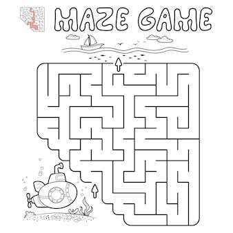 Jogo de puzzle labirinto para crianças. delinear labirinto ou jogo de labirinto com submarino. ilustrações