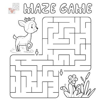 Jogo de puzzle labirinto para crianças. delinear labirinto ou jogo de labirinto com veados. ilustrações