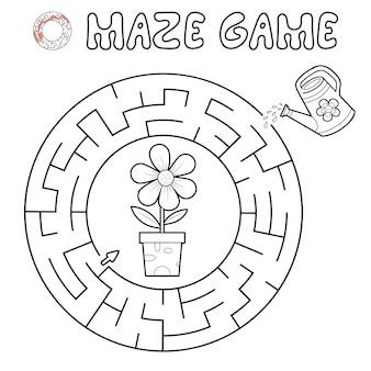 Jogo de puzzle labirinto para crianças. delinear o labirinto do círculo ou o jogo do labirinto com flores. ilustrações vetoriais