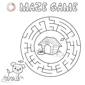 Jogo de puzzle labirinto para crianças. delinear o labirinto do círculo ou o jogo do labirinto com o cachorro.