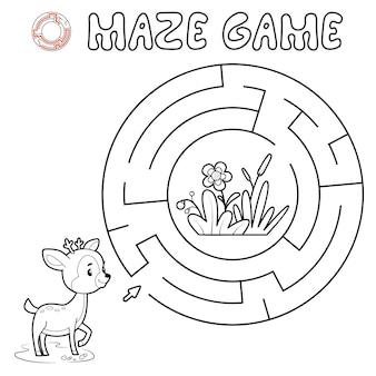 Jogo de puzzle labirinto para crianças. delinear o labirinto do círculo ou o jogo do labirinto com veados.