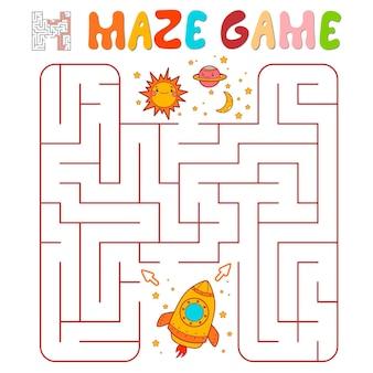 Jogo de puzzle labirinto para crianças. jogo de labirinto ou labirinto com foguete. ilustrações vetoriais