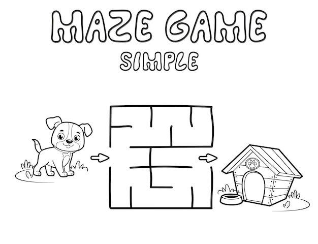 Jogo de puzzle labirinto simples para crianças. delinear labirinto simples ou jogo de labirinto com cachorro. ilustrações vetoriais