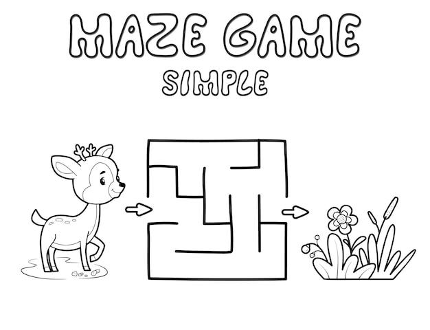 Jogo de puzzle labirinto simples para crianças. delinear labirinto simples ou jogo de labirinto com veados. ilustrações vetoriais