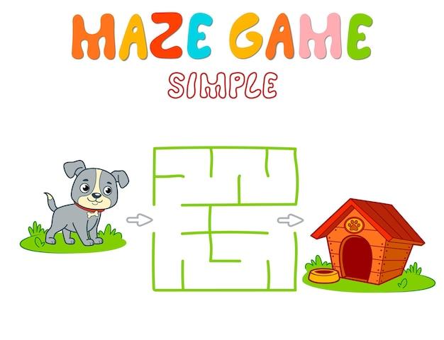 Jogo de puzzle labirinto simples para crianças. jogo de labirinto simples ou labirinto de cores com cachorro.