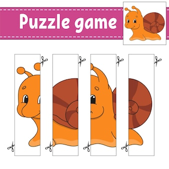 Jogo de puzzle para crianças. prática de corte.