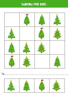 Jogo de puzzle sudoku com pinheiros de desenhos animados. planilha educacional para crianças.