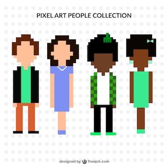 Jogo de quatro caracteres pixelizada