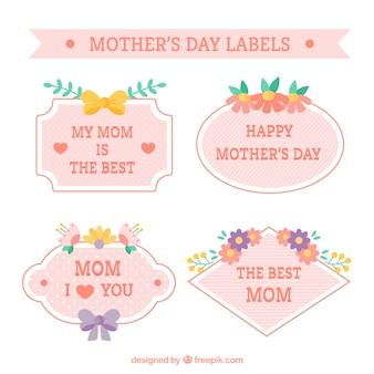 Jogo de quatro etiquetas florais para o dia da mãe