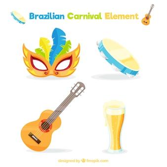Jogo de quatro itens prontos para o carnaval brasileiro