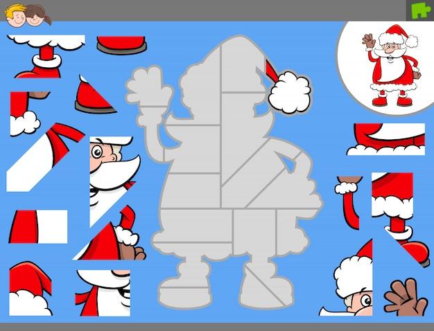 Jogo de quebra-cabeça com desenho animado papai noel