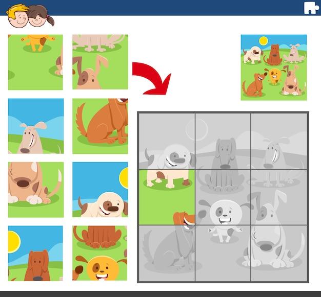 Jogo de quebra-cabeça com grupo de cães engraçados
