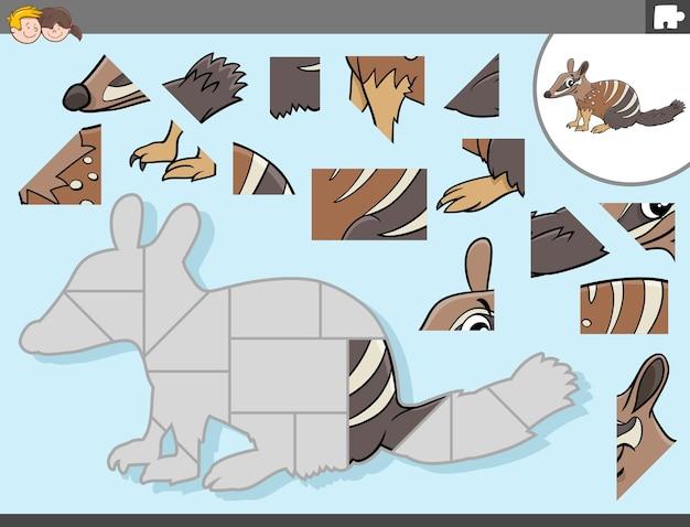 Jogo de quebra-cabeça com personagem animal numbat