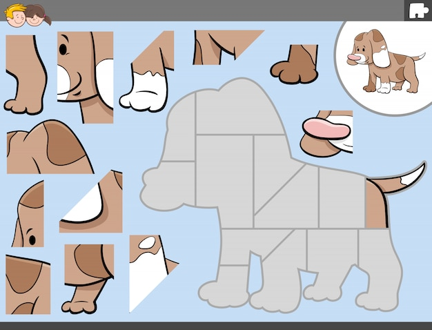 Jogo de quebra-cabeça com personagem de cachorro fofo