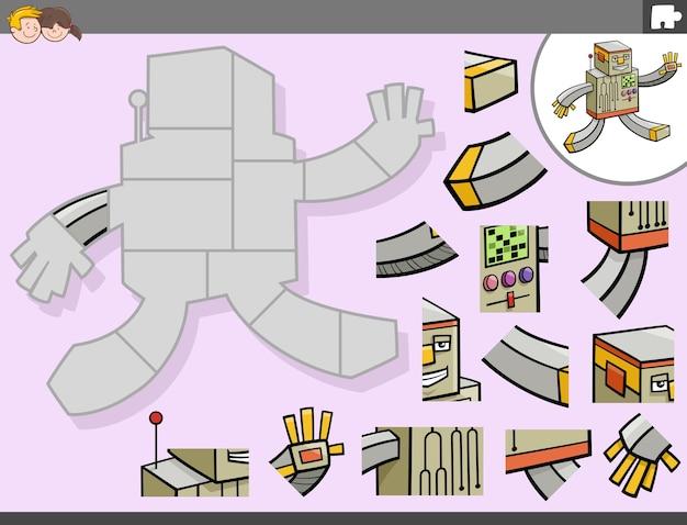 Jogo de quebra-cabeça com personagem de fantasia de robô